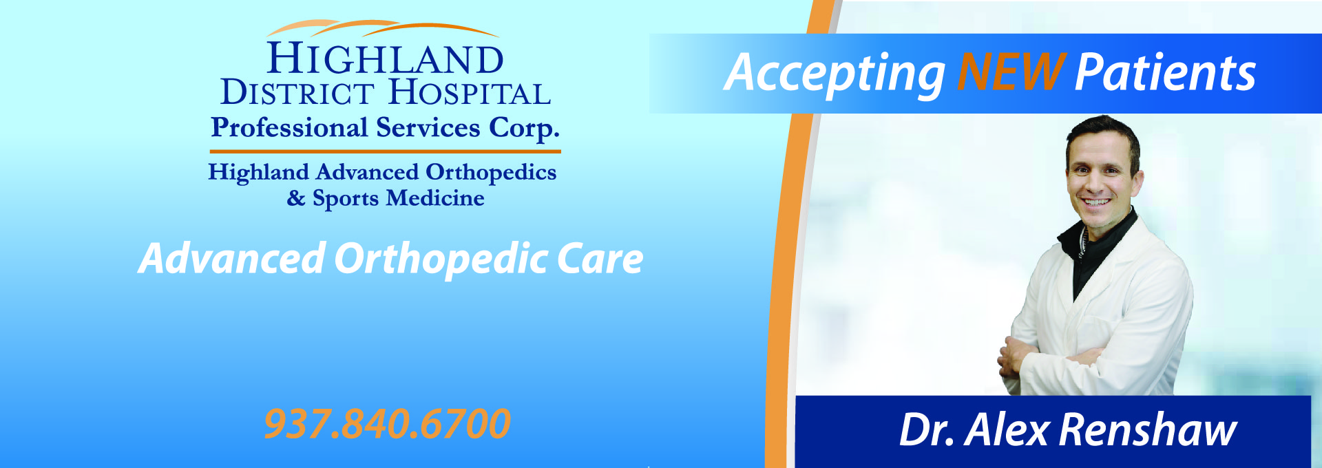 Highland District Hospital Professional Services Corporation Partners with NEW Orthopedic Surgeon